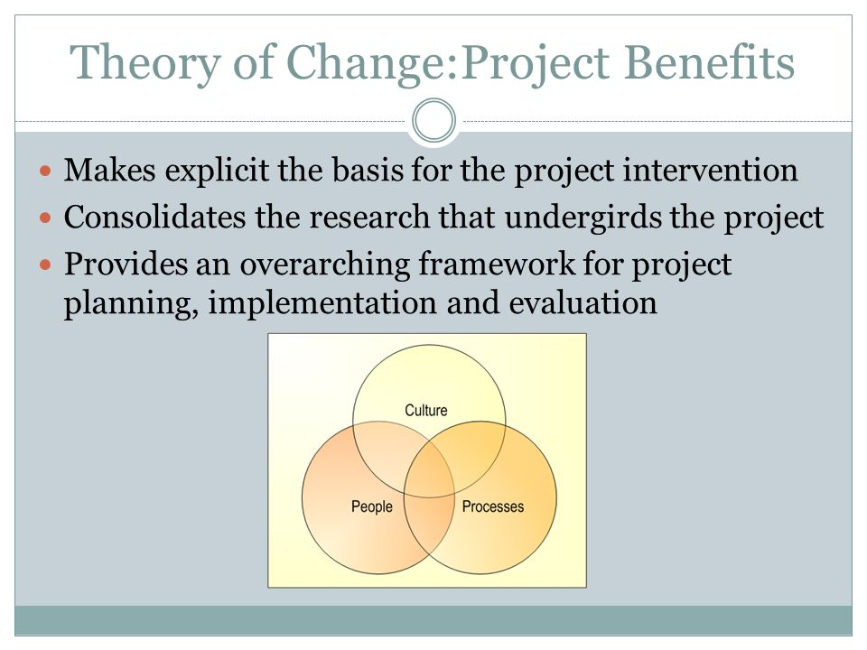 Theory of Change:Project Benefits