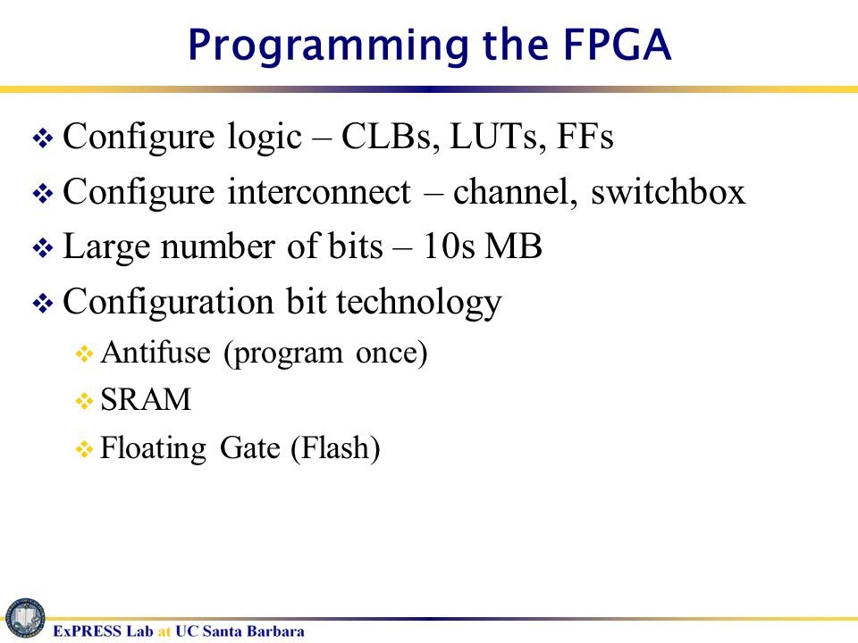 Programming the FPGA Configure logic – CLBs, LUTs, FFs