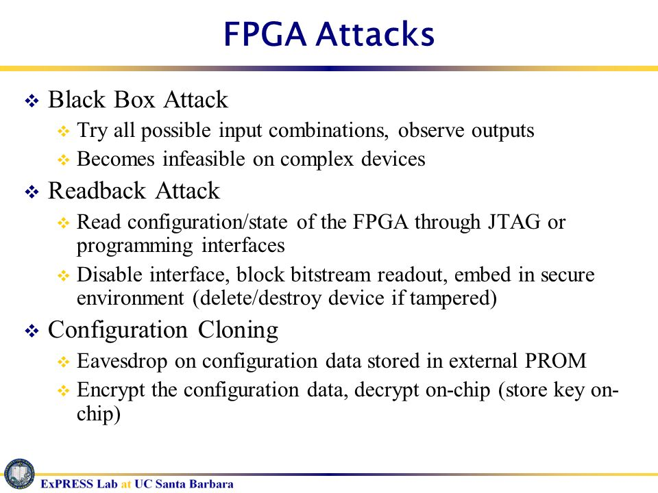 FPGA Attacks Black Box Attack Readback Attack Configuration Cloning
