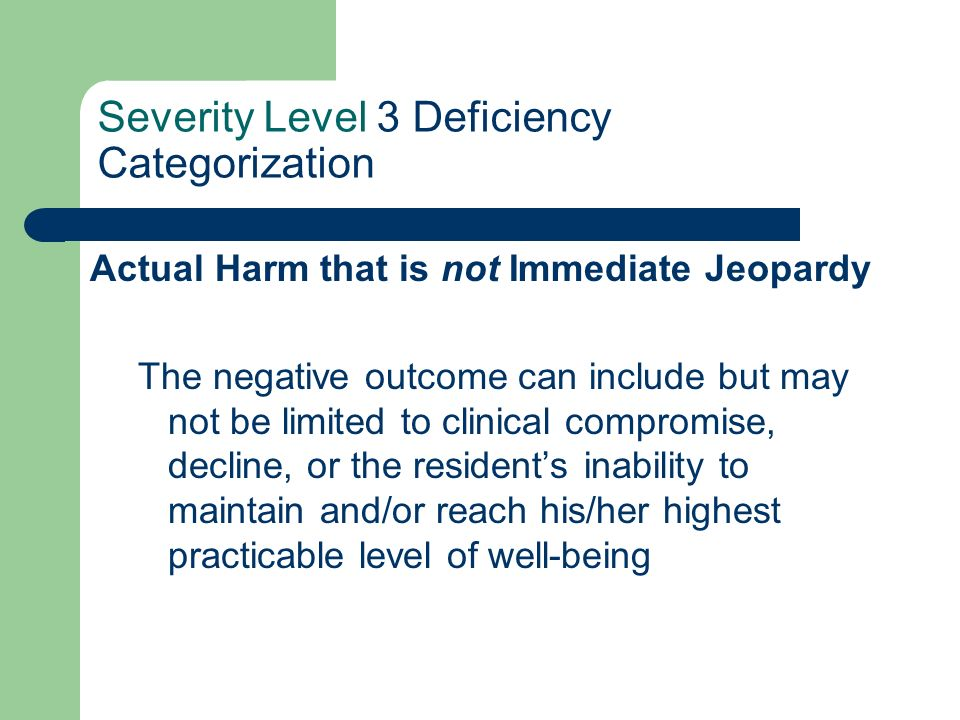 Severity Level 3 Deficiency Categorization