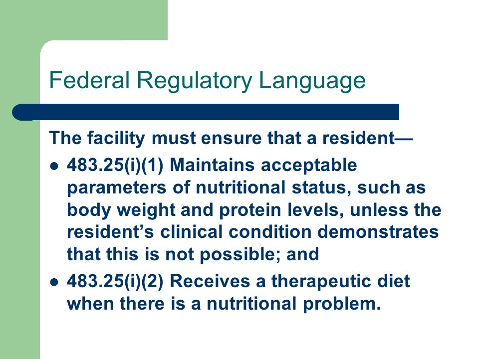Federal Regulatory Language