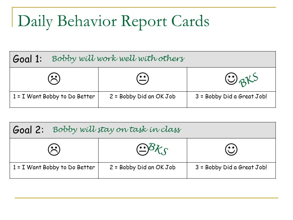 Daily Behavior Report Cards