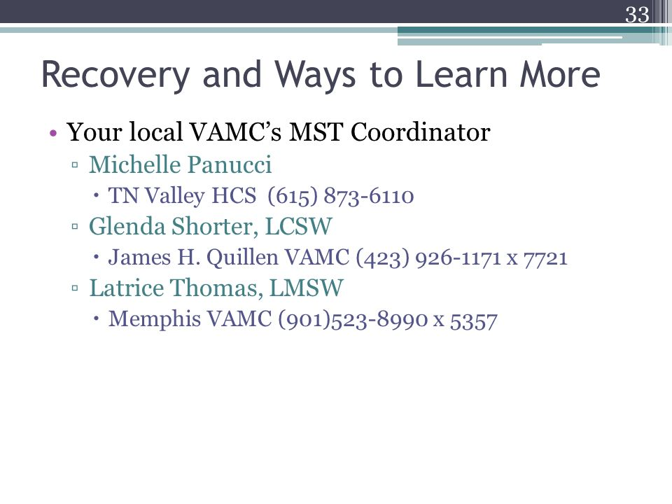 Recovery and Ways to Learn More