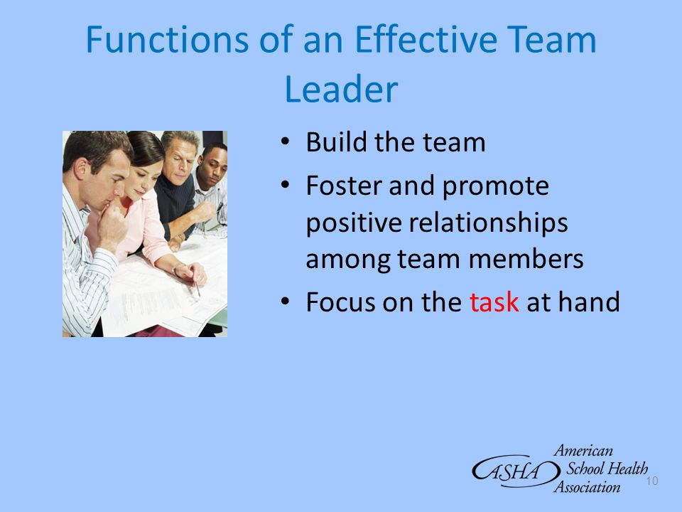 Functions of an Effective Team Leader