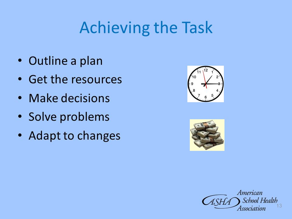Achieving the Task Outline a plan Get the resources Make decisions