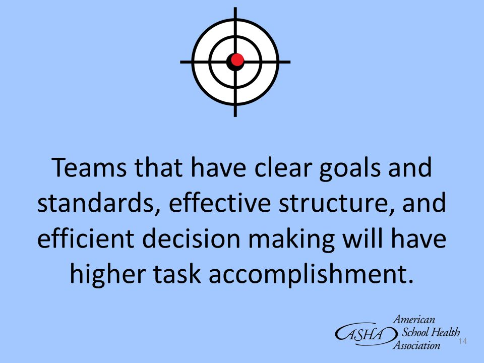 Teams that have clear goals and standards, effective structure, and efficient decision making will have higher task accomplishment.