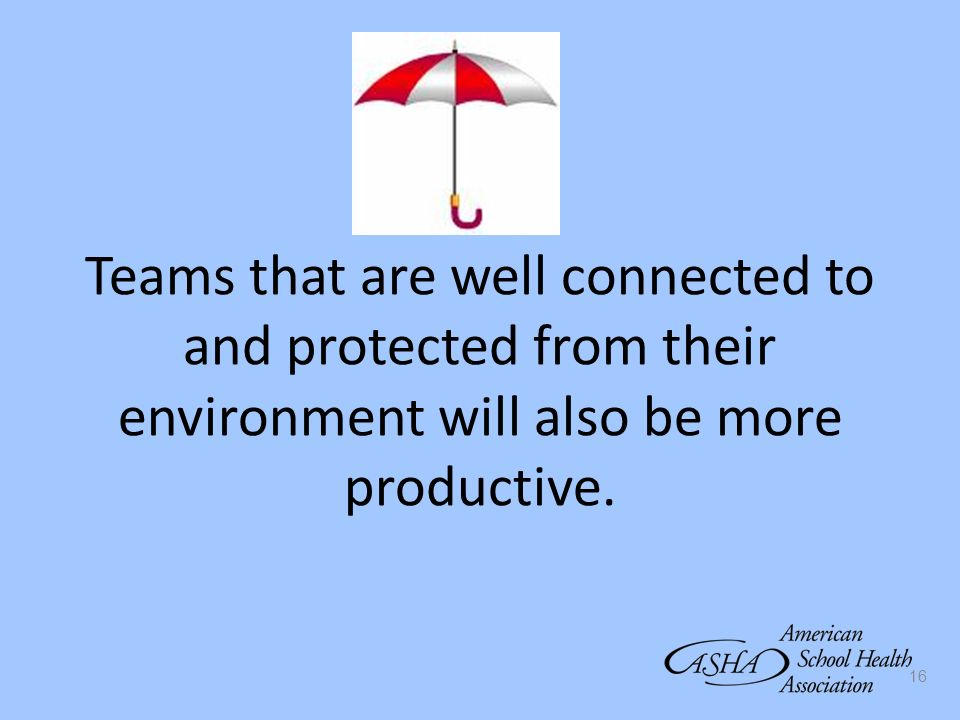 Teams that are well connected to and protected from their environment will also be more productive.