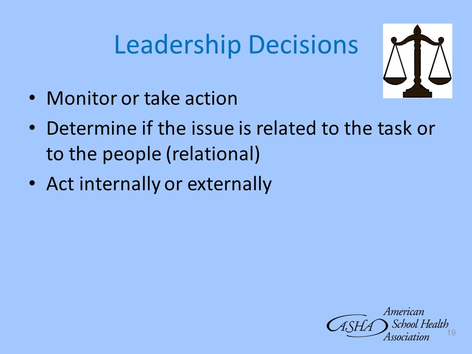 Leadership Decisions Monitor or take action