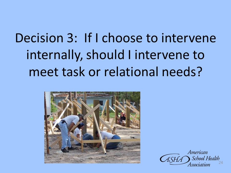 Decision 3: If I choose to intervene internally, should I intervene to meet task or relational needs