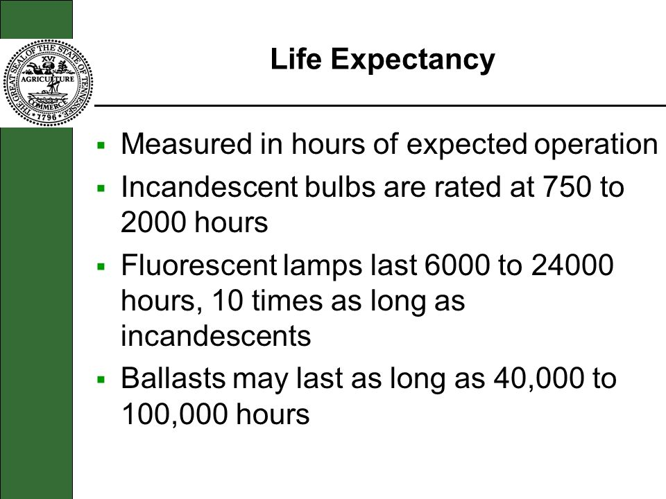 Life Expectancy Measured in hours of expected operation. Incandescent bulbs are rated at 750 to 2000 hours.