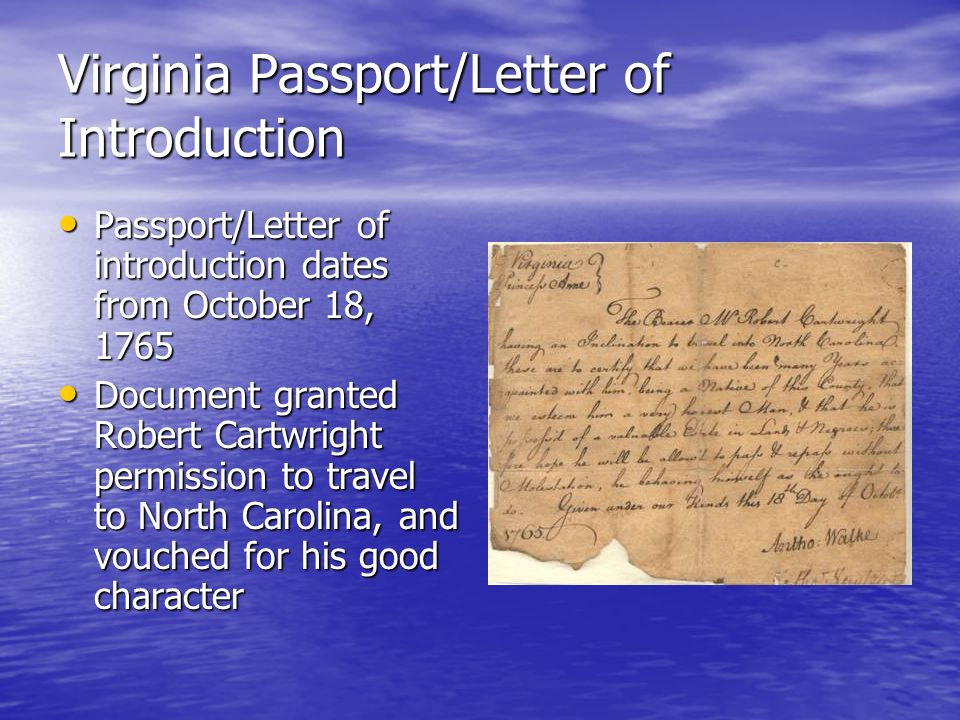 Virginia Passport/Letter of Introduction