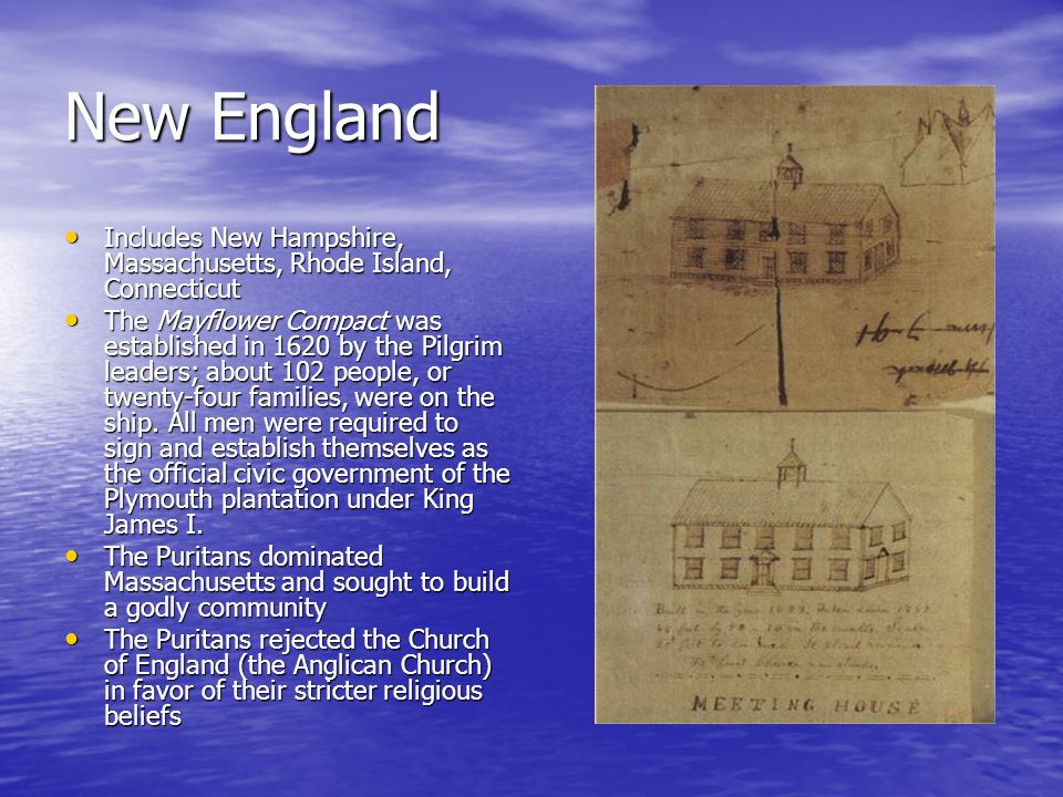 New England Includes New Hampshire, Massachusetts, Rhode Island, Connecticut.
