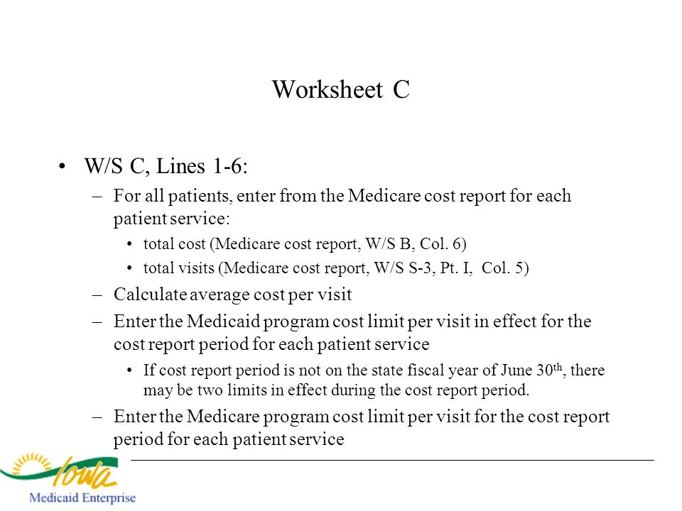 Worksheet C W/S C, Lines 1-6: