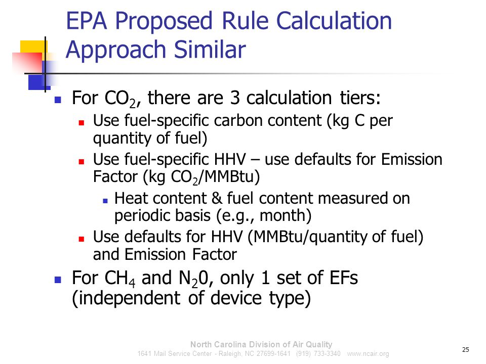 EPA Proposed Rule Calculation Approach Similar