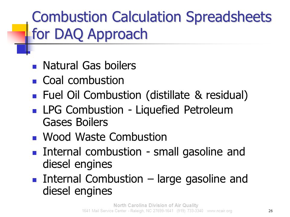 Combustion Calculation Spreadsheets for DAQ Approach