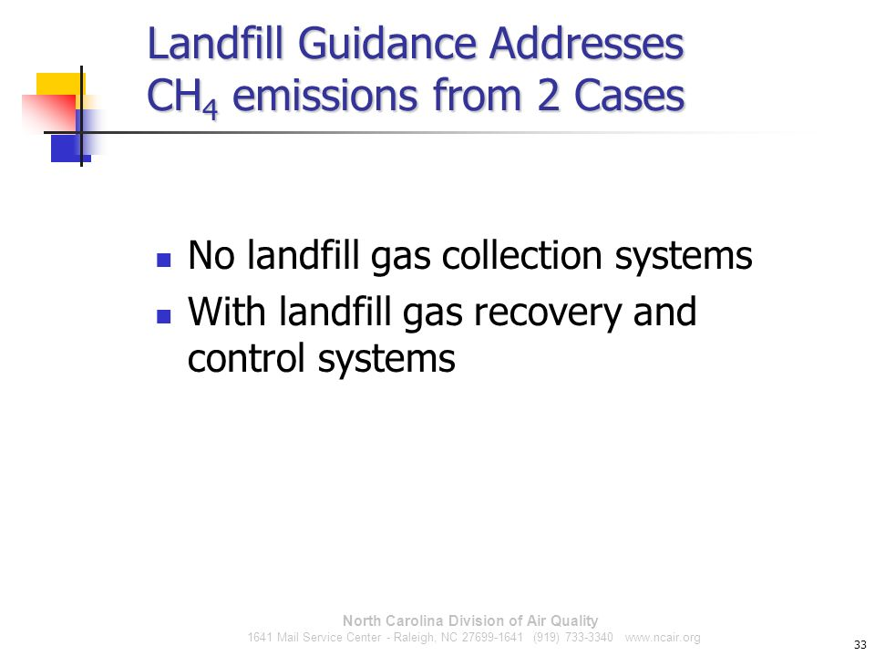 Landfill Guidance Addresses CH4 emissions from 2 Cases