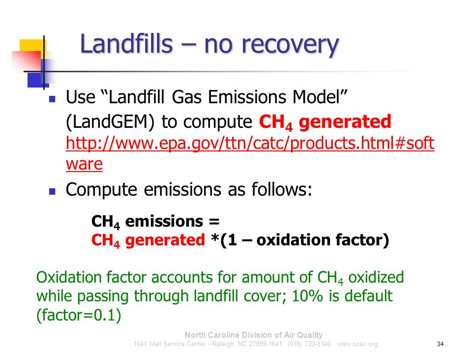 Landfills – no recovery