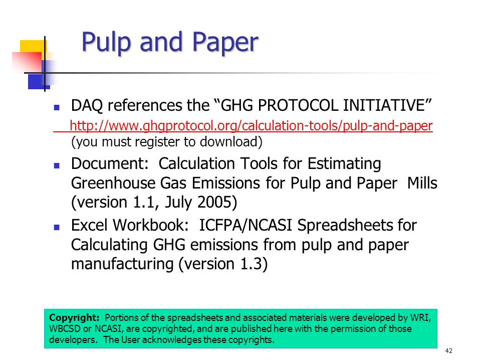 Pulp and Paper DAQ references the GHG PROTOCOL INITIATIVE