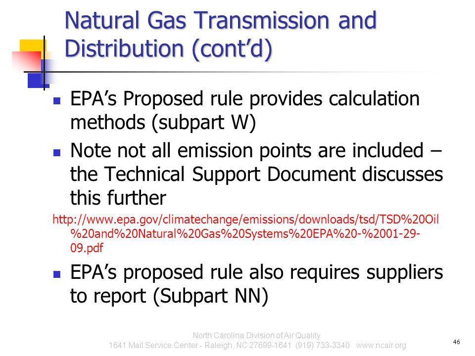 Natural Gas Transmission and Distribution (cont'd)