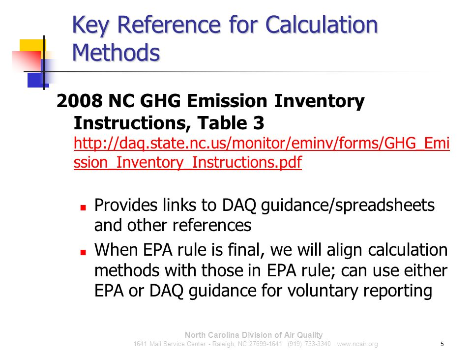 Key Reference for Calculation Methods