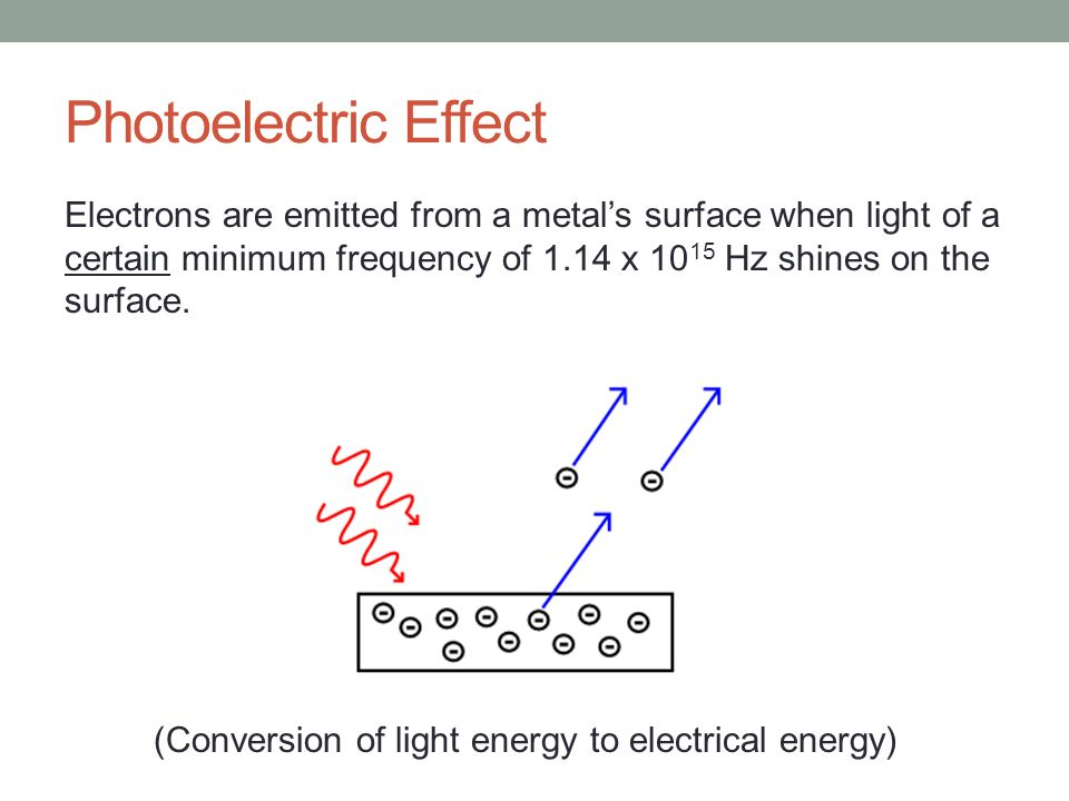 Photoelectric Effect Electrons are emitted from a metal's surface when light of a certain minimum frequency of 1.14 x 1015 Hz shines on the surface.