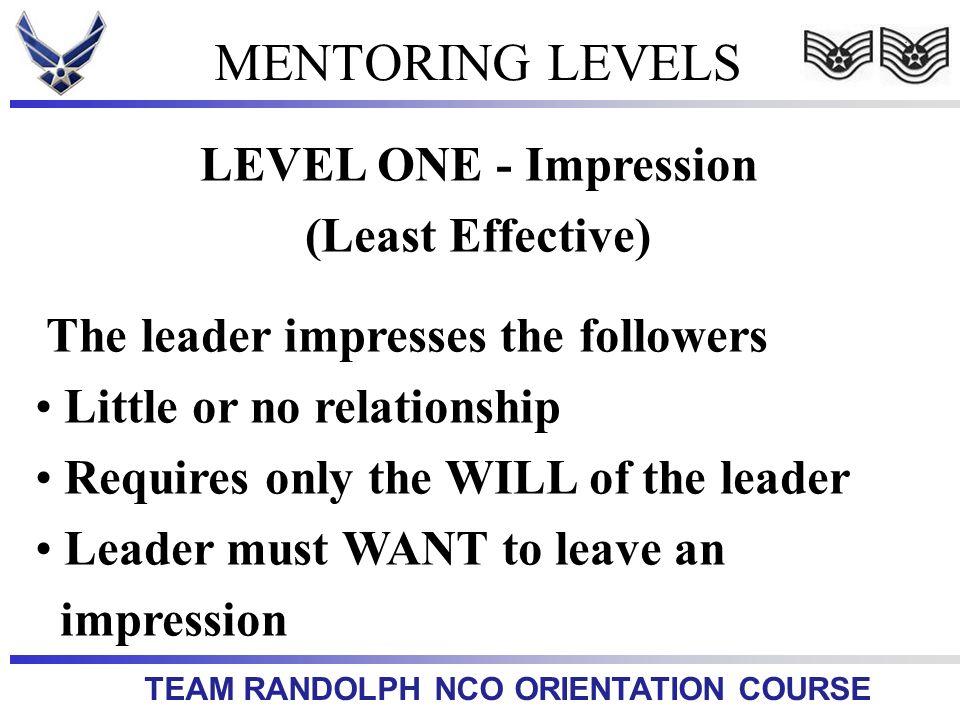 MENTORING LEVELS LEVEL ONE - Impression (Least Effective)