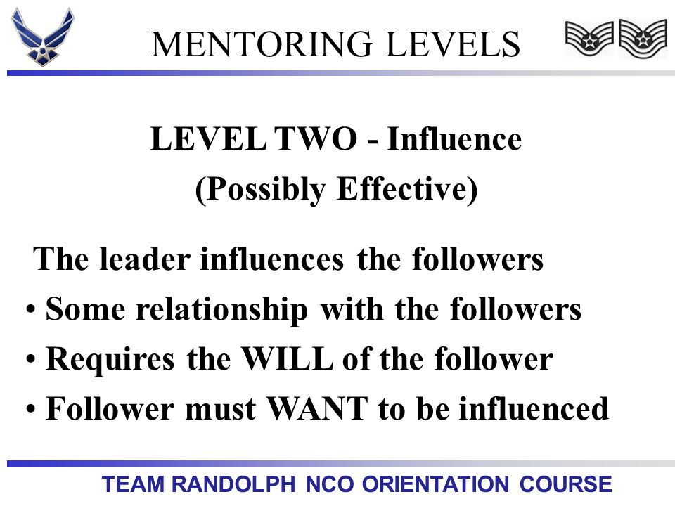 MENTORING LEVELS LEVEL TWO - Influence (Possibly Effective)