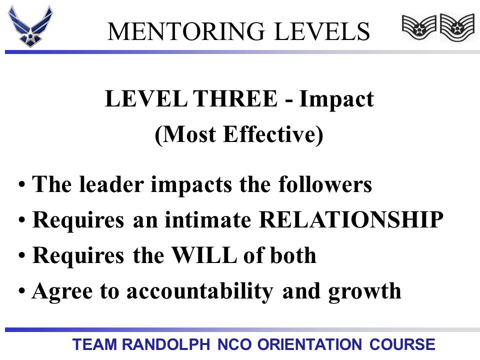 MENTORING LEVELS LEVEL THREE - Impact (Most Effective)