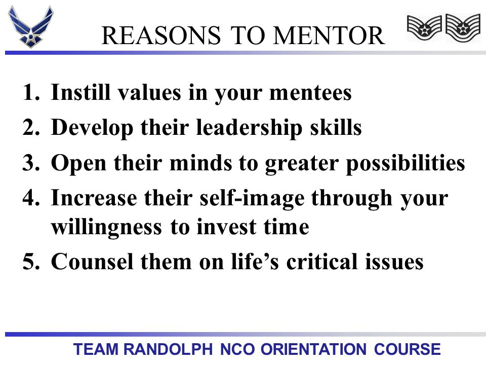REASONS TO MENTOR Instill values in your mentees
