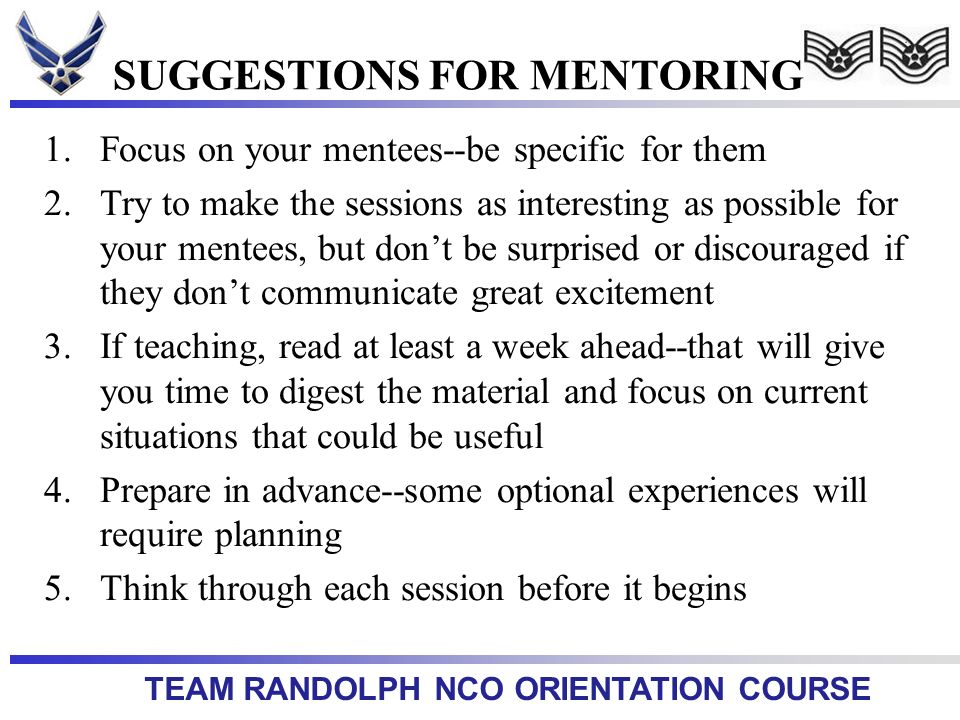 SUGGESTIONS FOR MENTORING