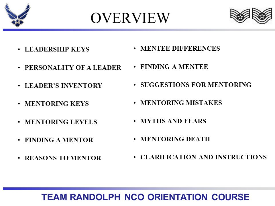 OVERVIEW MENTEE DIFFERENCES LEADERSHIP KEYS FINDING A MENTEE