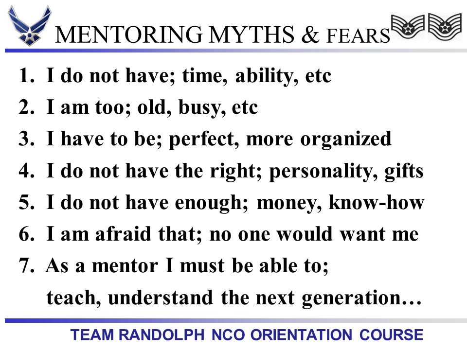 MENTORING MYTHS & FEARS