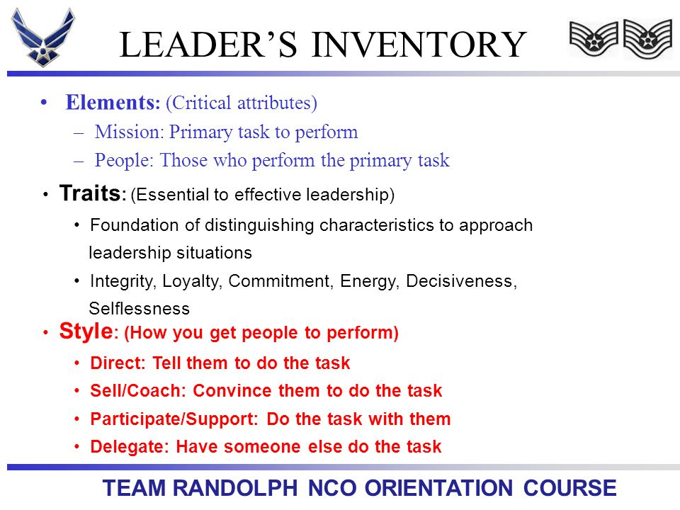 LEADER'S INVENTORY Elements: (Critical attributes)