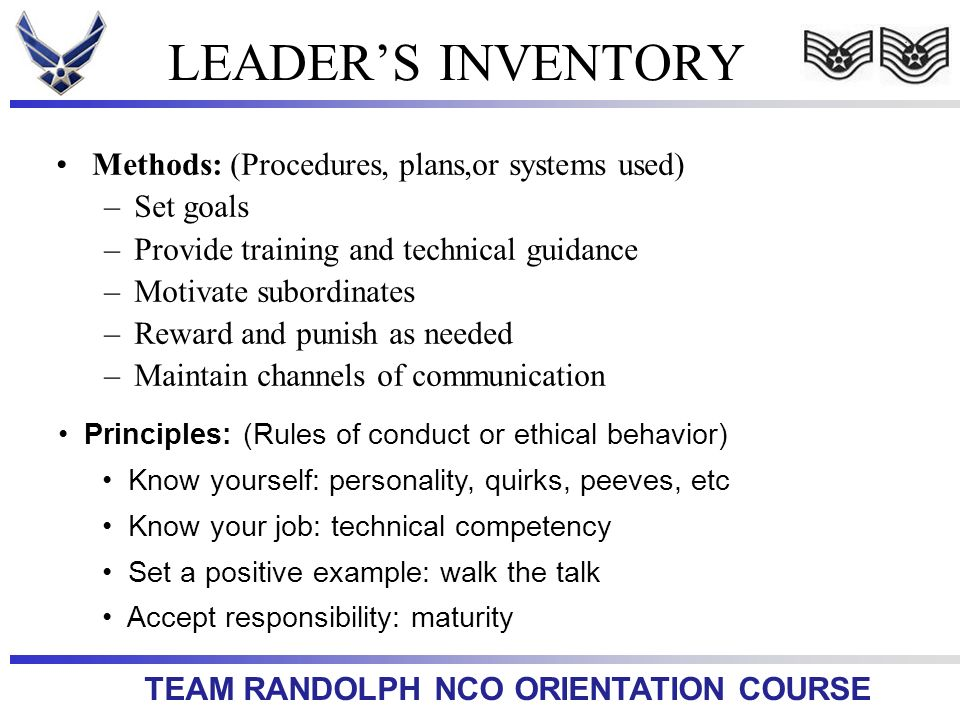LEADER'S INVENTORY Methods: (Procedures, plans,or systems used)