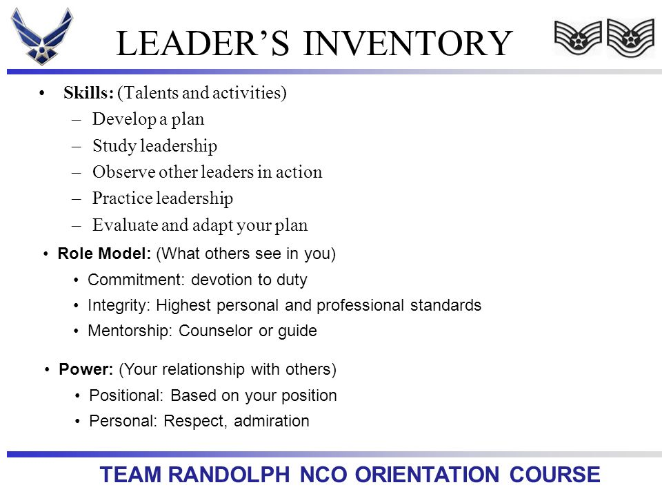 LEADER'S INVENTORY Skills: (Talents and activities) Develop a plan