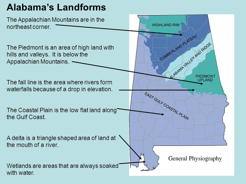 Chapter 1 the geography of alabama ppt video online download alabamas landforms the appalachian mountains are in the northeast corner freerunsca Image collections