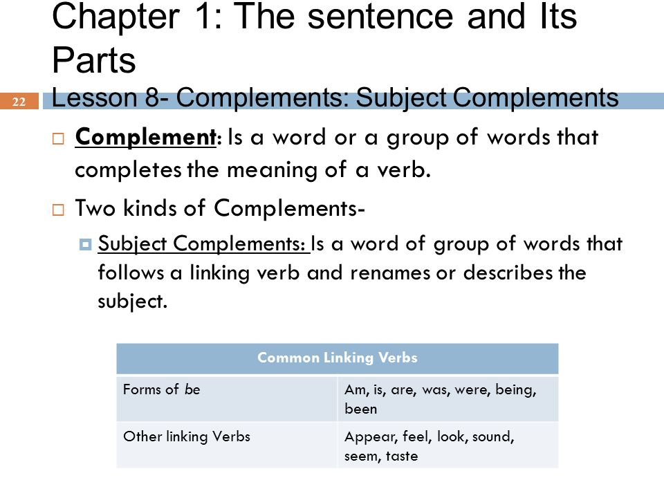 Chapter 1: The sentence and Its Parts Lesson 8- Complements: Subject Complements