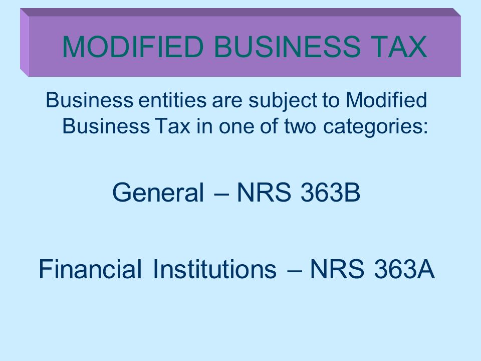 Financial Institutions – NRS 363A