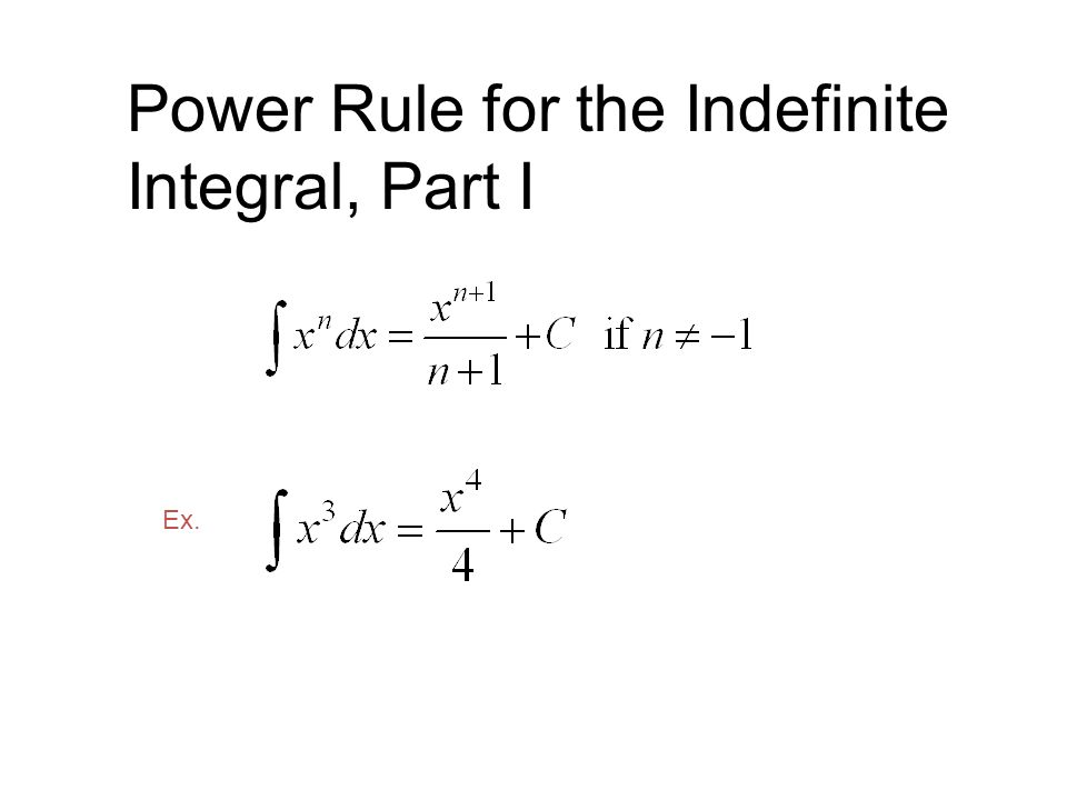 Power Rule for the Indefinite Integral, Part I