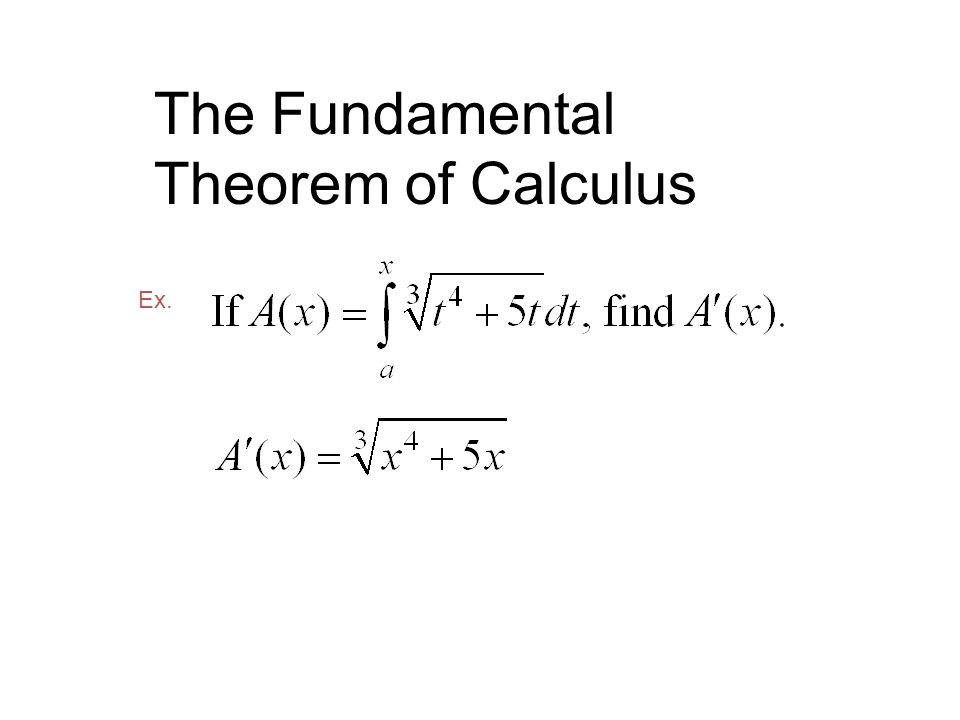 The Fundamental Theorem of Calculus