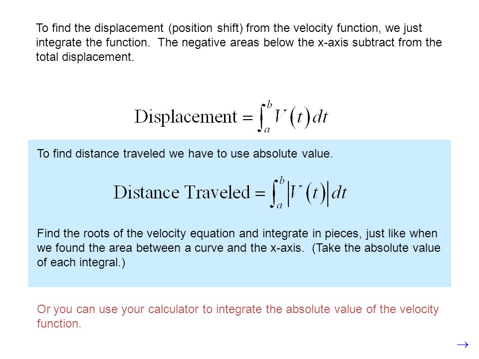 To find the displacement (position shift) from the velocity function, we just integrate the function. The negative areas below the x-axis subtract from the total displacement.