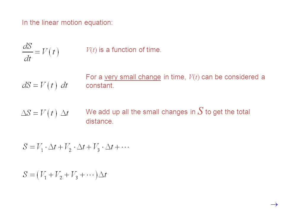 In the linear motion equation: