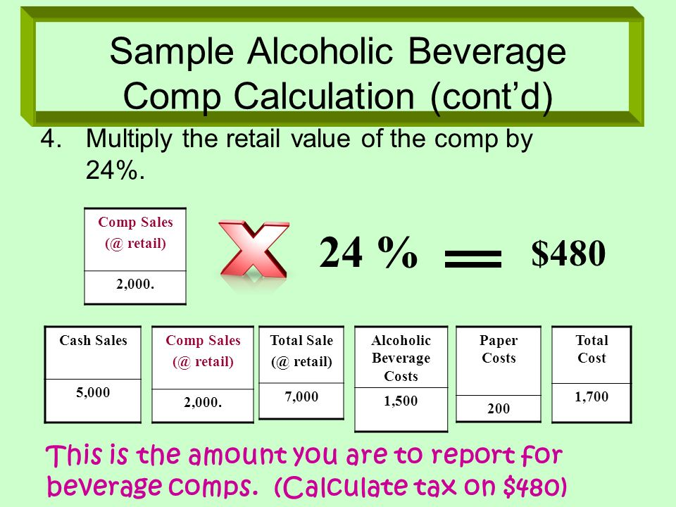 Sample Alcoholic Beverage Comp Calculation (cont'd)