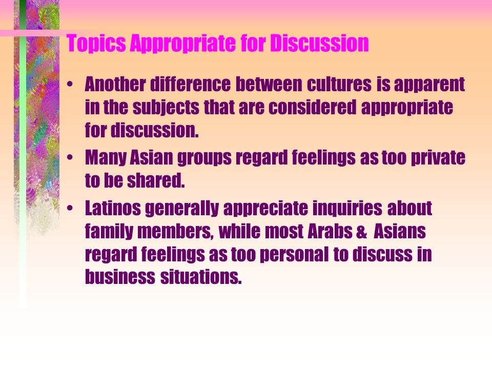 Topics Appropriate for Discussion