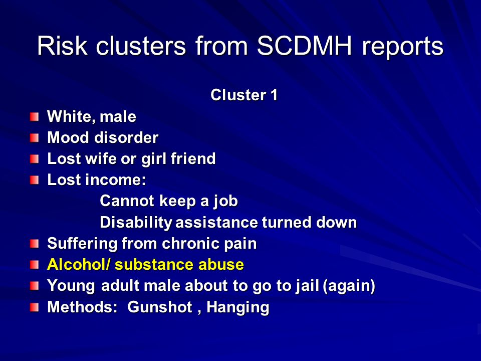Risk clusters from SCDMH reports
