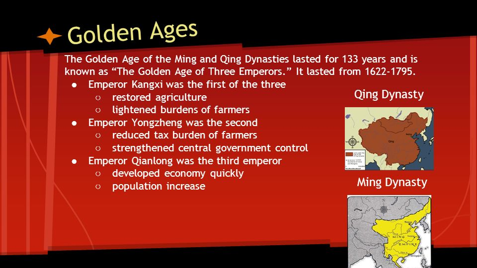 Golden Ages Qing Dynasty Ming Dynasty