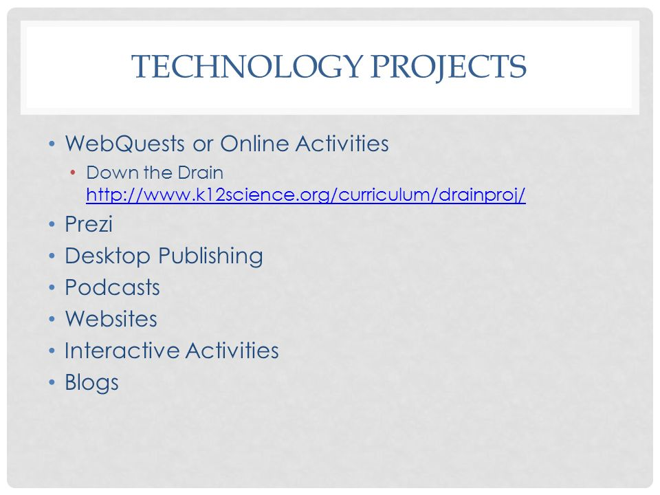 Technology Projects WebQuests or Online Activities Prezi
