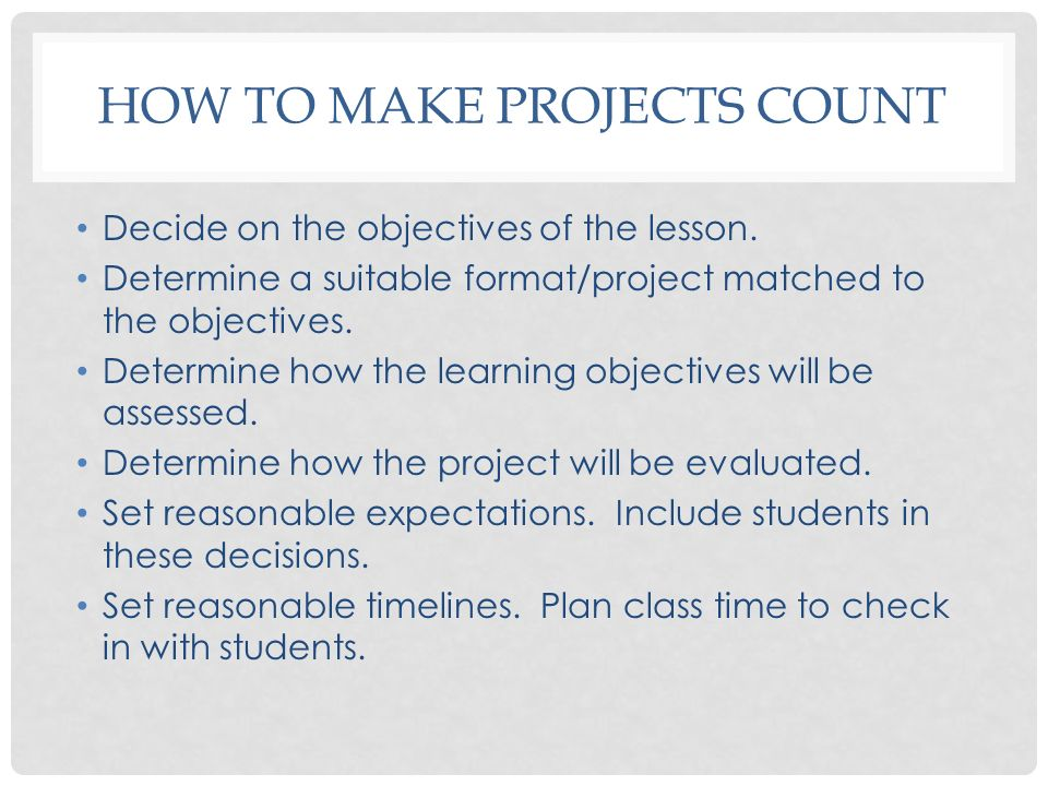 How To make Projects count