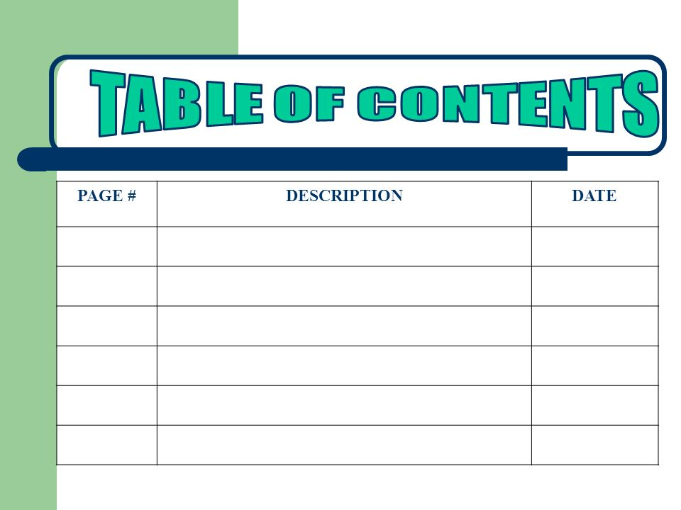TABLE OF CONTENTS PAGE # DESCRIPTION DATE