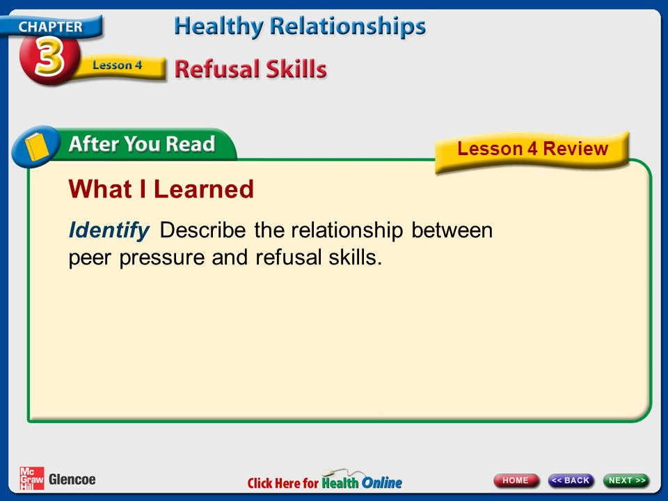 Lesson 4 Review What I Learned. Identify Describe the relationship between peer pressure and refusal skills.